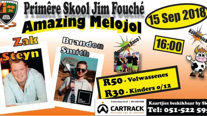 Amazing Melojol 2018 Poster and Banner. Zak Steyn and Brandon Smith featured on the poster.